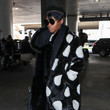 Looking Glam In Faux Fur And Polka-Dots At LAX