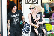 Singer Ashlee Simpson-Wentz, Pete Wentz and their son Bronx out shopping at Tough Cookies Children's Boutique in Sherman Oaks, CA. Ashlee was showing off her new short hair-do.