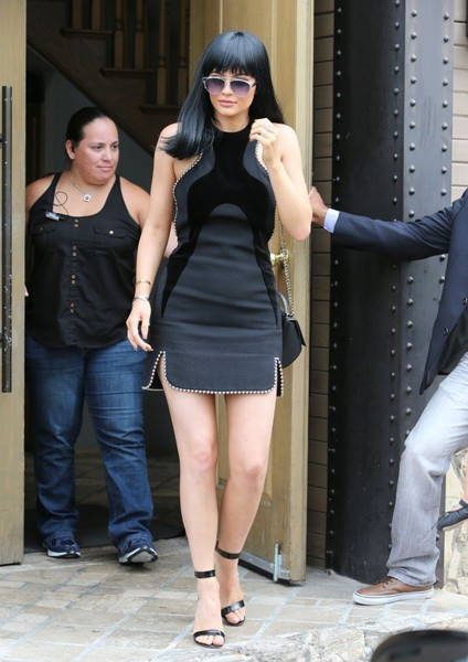 Flaunting What She's Got In An Alexander Wang LBD With Velvet Panels And Studs