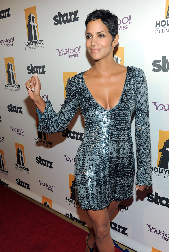 Halle Berry Wears A Sequined Mini Dress Celebrity