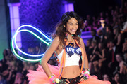 Model Chanel Iman walks the runway during the 2011 Victoria's Secret Fashion Show at the Lexington Avenue Armory on November 9, 2011 in New York City.