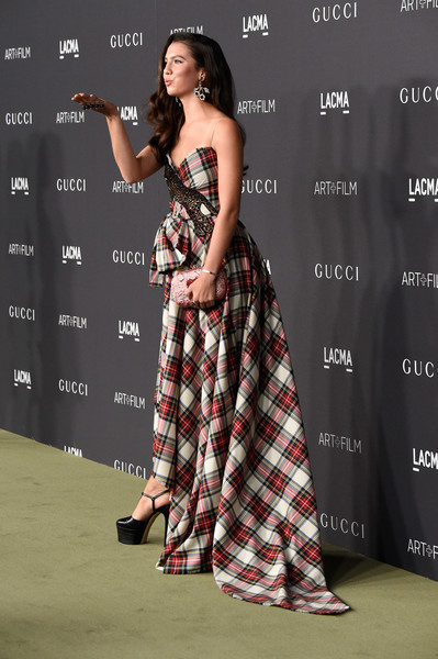 Maya Henry in a Plaid Gown