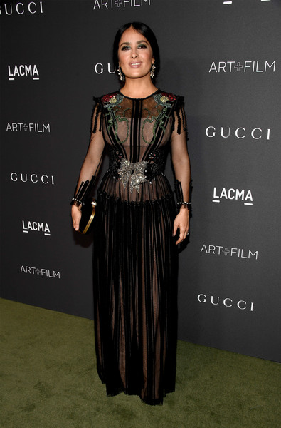 Salma Hayek in Sheer Black Embroidery
