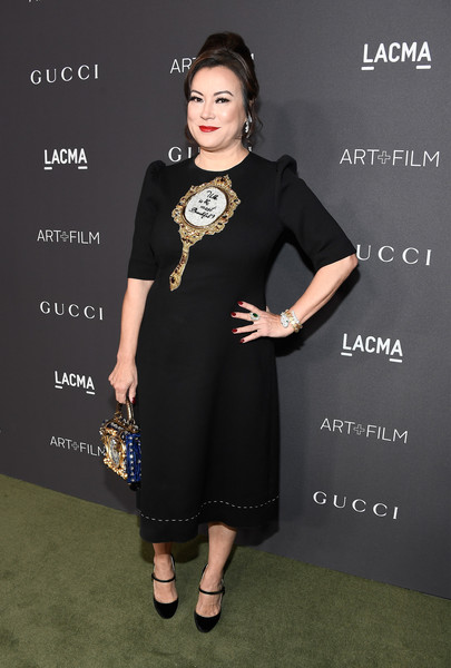 Jennifer Tilly in an Embroidered LBD