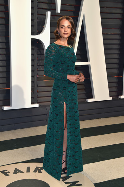 Alicia Vikander in Emerald Lace