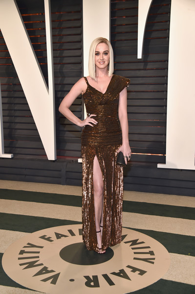 Katy Perry in Bronze Pleats