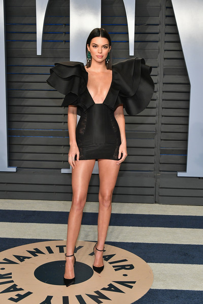 Wearing A Winged LBD At The 2018 Vanity Fair Oscar Party