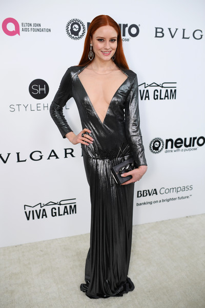 Barbara Meier in a Plunging Gunmetal Gown