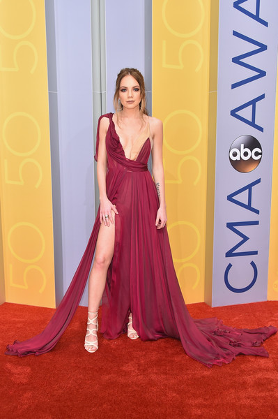 Danielle Bradbery in Burgundy Silk