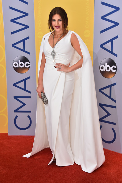 Hillary Scott in a White Caped Dress