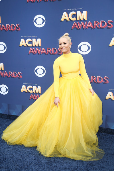 Lindsey Vonn In Christian Siriano At The ACM Awards