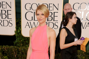 Claire Danes Delights in a Custom Calvin Klein Collection Gown at the Golden Globe Awards