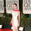 Smoldering In Off-White Satin Versace At The 2012 Golden Globes
