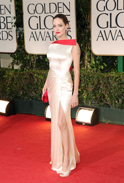 Angelina Jolie in Versace at the 2012 Golden Globes