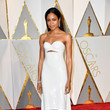 Naomie Harris in a Short White Sequined Corset Dress With a Train