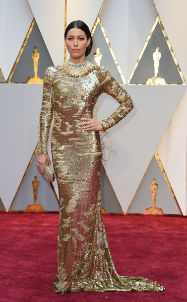 Jessica Biel in Kaufman Franco at the Oscars