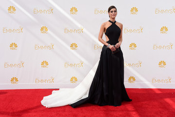 Lizzy Caplan's Black and White Gown (Photos from the 2014 Emmys)