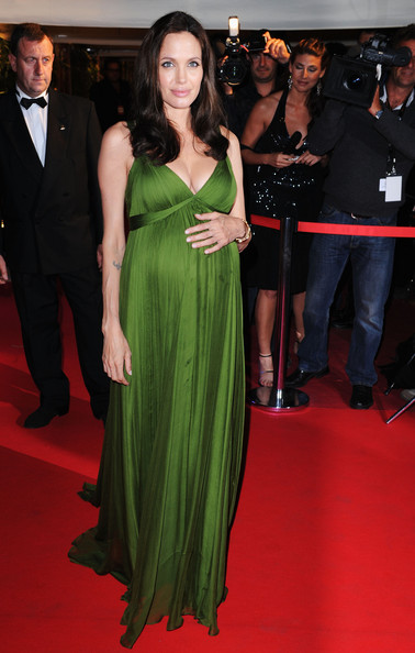 9651a253e90 Glowing In A Green Maternity Gown At The  Kung Fu Panda  Premiere ...