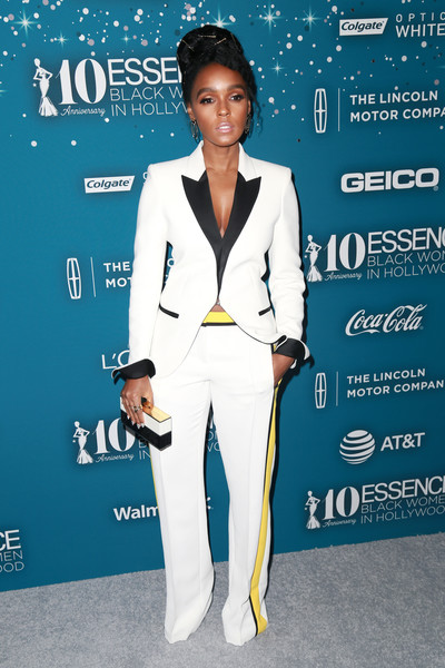 In A Sporty-Chic Tricolor Pantsuit At The Essence Black Women In Hollywood Awards