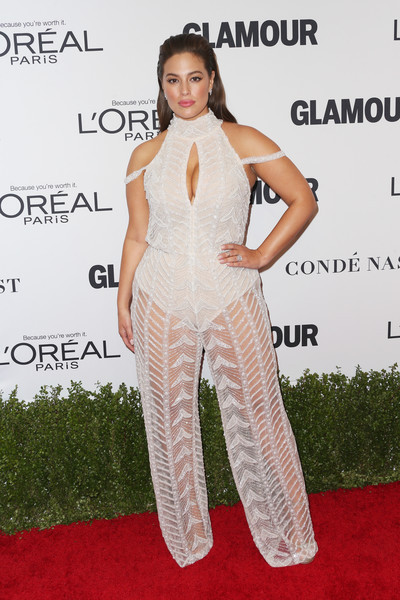 Ashley Graham in a Sheer Beaded Jumpsuit