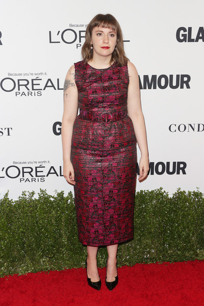 Lena Dunham in a Berry Cocktail Dress
