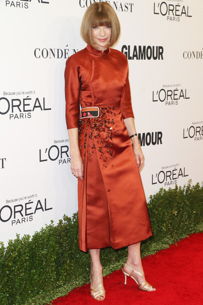 Anna Wintour in Rust Satin