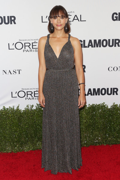 Rashida Jones in Gunmetal Pleats