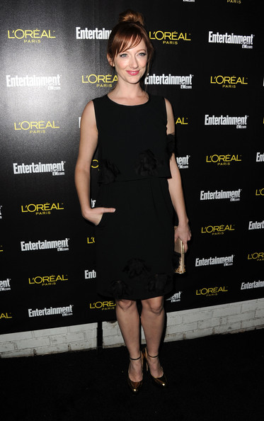 Judy Greer Pumps [clothing,dress,cocktail dress,little black dress,premiere,fashion,footwear,carpet,fashion model,shoe,arrivals,judy greer,nominees,jess cagle,screen actors guild awards,chateau marmont,entertainment weekly,party,17th annual pre-screen actors guild awards,celebration]