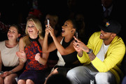 (L-R) Actress Melissa Joan Hart, TV personality La La Anthony, and NBA player Carmelo Anthony attend the Kids Rock! fashion show during Spring 2016 New York Fashion Week: The Shows at The Dock, Skylight at Moynihan Station on September 10, 2015 in New York City.