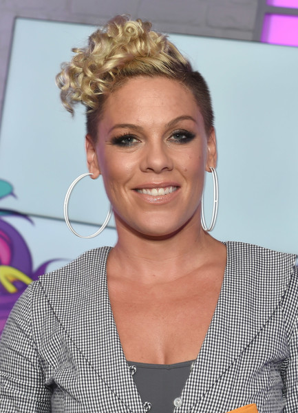 Pink's Curly Mohawk at the Kiss FM Studios
