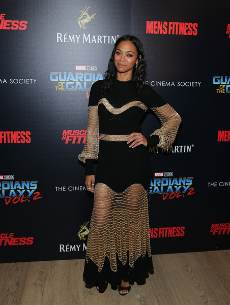 Zoe Saldana in Alexander McQueen at a New York Premiere