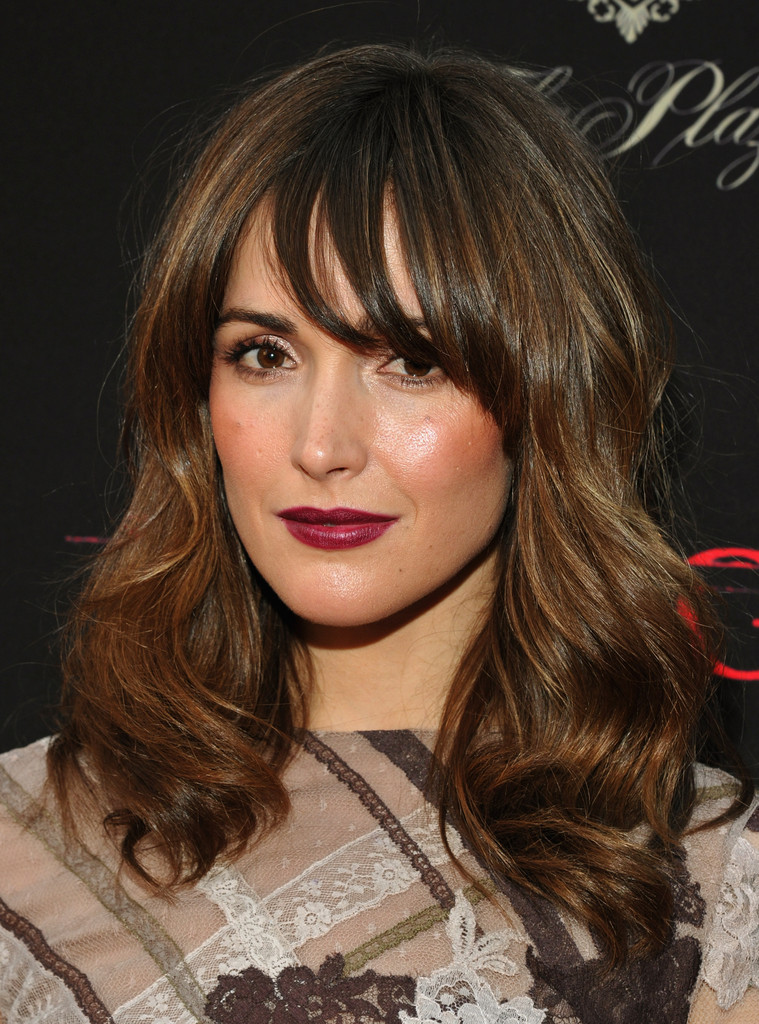 rose byrne dons long wavy cut with bangs celebrity hair