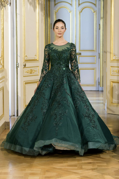 Azulant Akora at Couture Fall 2018 [gown,dress,clothing,fashion model,haute couture,fashion,bridal party dress,formal wear,green,a-line,dress,gown,evening gown,green,couture fall,fashion,haute couture,a-line,wedding dress,azulant akora,dress,evening gown,haute couture,green,gown,wedding dress,fashion,fashion show,fashion week,a-line]