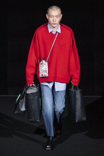 Balenciaga at Paris Fall 2019 [red,fashion,outerwear,standing,human,jacket,photography,jeans,denim,t-shirt,jeans,human,fashion,fashion week,runway,jacket,photography,balenciaga,paris fashion week,fashion show,paris fashion week,balenciaga,demna gvasalia,fashion,runway,fashion week,fashion show,ready-to-wear,autumn]