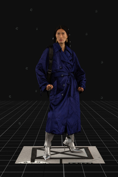 Balenciaga at Paris Fall 2021 [sleeve,standing,overcoat,formal wear,electric blue,space,frock coat,duster,vintage clothing,trench coat,fashion,clothing,vogue,sleeve,standing,frock coat,duster,balenciaga,paris fashion week,fashion show,balenciaga,fashion,2021,autumn,fashion show,clothing,2020,vogue]
