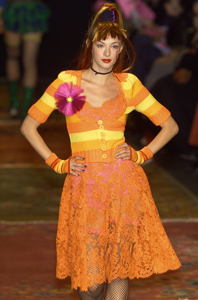 Betsey Johnson at New York Fall 2001 [clothing,fashion,fashion show,fashion design,orange,fashion model,event,dress,costume,haute couture,barbie,fashion,blog,doll,fashion doll,model,runway,clothing,new york fashion week,fashion show,blog,runway,sideblog,fashion,barbie,doll,fashion doll,fashion show,model]
