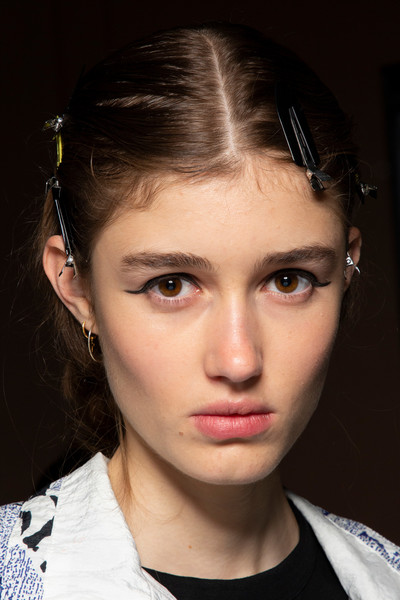 Blumarine at Milan Spring 2020 (Backstage) [face,hair,eyebrow,hairstyle,forehead,lip,chin,beauty,nose,cheek,supermodel,actor,beauty,fashion,hair,model,face,lip,blumarine,milan fashion week,model,it,actor,fashion,beauty,supermodel]