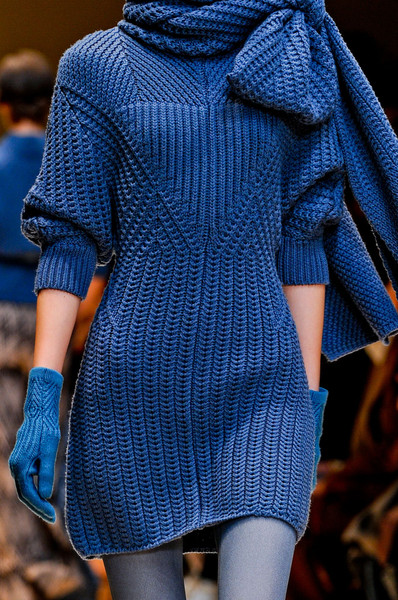 Cacharel at Paris Fall 2012 (Details) [blue,clothing,fashion,electric blue,cobalt blue,wool,shoulder,outerwear,fashion model,sleeve,dress,sweater,clothing,fashion,runway,model,knitting,fashion design,pattern,paris fashion week,runway,paris fashion week,knitting,fashion,clothing,model,dress,sweater,fashion design,pattern]