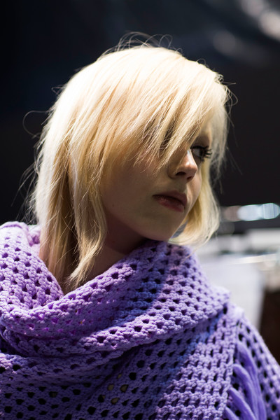 Carven at Paris Fall 2016 (Backstage) [portrait,hair,blond,hairstyle,purple,crochet,knitting,wool,lip,bob cut,hair coloring,blond,hair,hair coloring,knitting,hair,purple,color,carven,paris fashion week,blond,hair coloring,hair m,purple,knitting,long hair,portrait,hair,color,beauty.m]