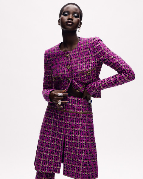Chanel at Couture Fall 2020 [clothing,purple,fashion model,violet,plaid,magenta,pattern,outerwear,fashion,formal wear,coco chanel,couture fall,fashion,clothing,haute couture,fashion week,purple,pattern,chanel,fashion house,coco chanel,chanel,haute couture,fashion,autumn,tweed,fashion week,fashion house,clothing]