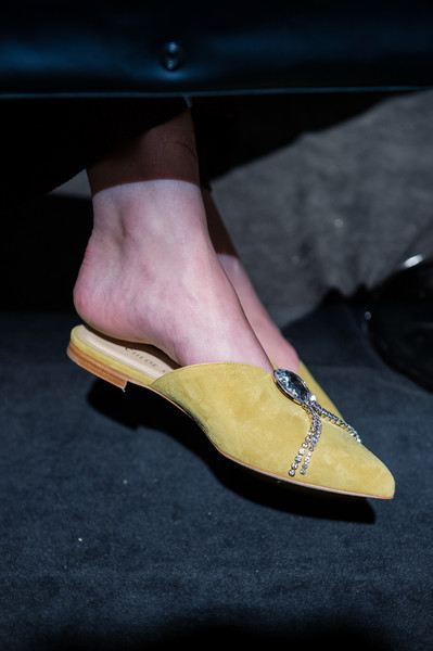 Chloe Gosselin at New York Spring 2019 [footwear,shoe,yellow,leg,human leg,high heels,slipper,ankle,foot,joint,shoe,shoe,footwear,chloe gosselin,toe,high heels,foot,ankle,sandal,new york fashion week,toe,shoe,high-heeled shoe,sandal]