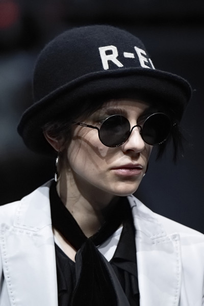 Emporio Armani at Milan Fall 2020 (Details) [eyewear,cool,sunglasses,street fashion,hat,glasses,fedora,fashion,headgear,fashion accessory,sunglasses,goggles,socialite,fashion,glasses,hair,health,eyewear,fedora,milan fashion week,sunglasses,glasses,goggles,fedora,beanie,hair m,fashion,health,long hair,socialite]