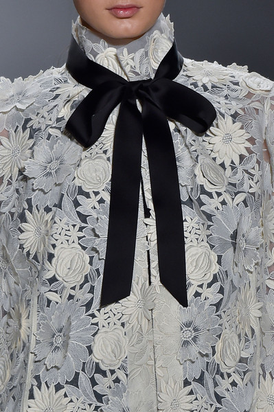 Erin Fetherston at New York Fall 2015 (Details) [autumn,clothing,white,black,neck,scarf,lace,fashion accessory,fashion,formal wear,stole,fashion accessory,erin fetherston,haute couture,bunt,lace,fashion,blouse,new york fashion week,russian national football league,2015\u201316 russian national football league,blouse,autumn,winter,haute couture,bunt,2015,2016]