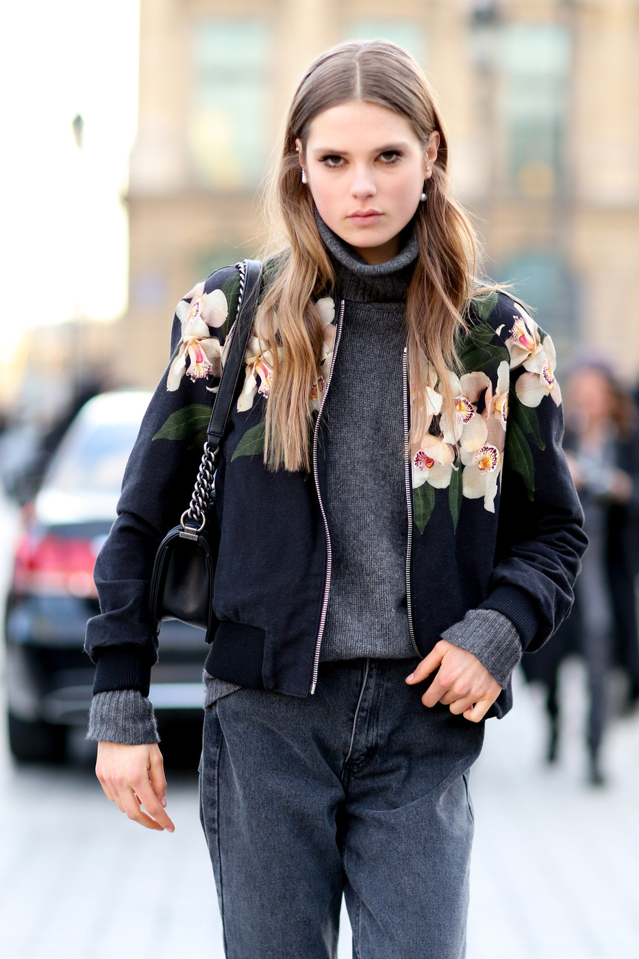 Flower Bomber The Most Standout Street Style At Paris Fashion Week Fall 2014 Livingly
