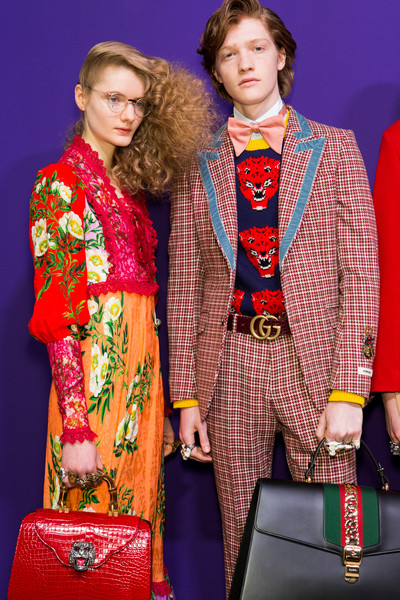 Gucci at Milan Fall 2017 (Backstage) [fashion,fashion design,event,outerwear,electric blue,costume,outerwear,fashion,fashion design,clothing,haute couture,model,gucci,milan fashion week,fashion show,event,fashion,gucci,milan fashion week,fashion show,clothing,fashion design,haute couture,model,fashion week]