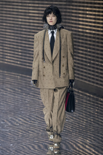 Gucci at Milan Fall 2019 [autumn,fashion,clothing,suit,fashion show,runway,outerwear,formal wear,beige,fashion design,coat,outerwear,fashion,runway,fashion week,wear,gucci,milan fashion week,fashion show,paris fashion week,milan fashion week,alessandro michele,fashion week,gucci,fashion show,fashion,autumn,runway,paris fashion week]