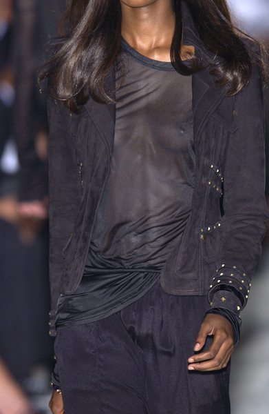 Gucci at Milan Spring 2004 (Details) [fashion model,clothing,fashion,leather,long hair,fashion show,textile,outerwear,leather jacket,neck,fashion,runway,fashion week,model,fashion model,haute couture,hair,gucci,milan fashion week,fashion show,runway,milan fashion week,fashion,fashion show,gucci,haute couture,fashion week,model]