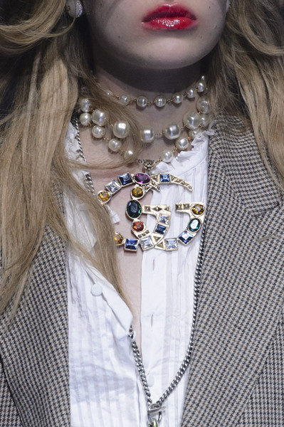 Gucci at Milan Spring 2018 (Details) [lip,necklace,jewellery,fashion accessory,beauty,skin,fashion,neck,fashion design,body jewelry,necklace,jewellery,fashion accessory,fashion,clothing,ring,lip,gucci,gucci,milan fashion week,necklace,gucci,jewellery,fashion,fashion accessory,ring,clothing,gucci guccighost]