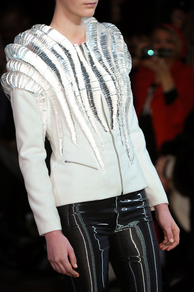 Iris Van Herpen at Couture Spring 2012 (Details) [white,clothing,fashion,fashion model,outerwear,beauty,leather,jacket,fashion show,human,supermodel,socialite,fashion,runway,haute couture,model,textile,white,couture spring,fashion show,runway,fashion show,model,haute couture,fashion,supermodel,socialite,textile]