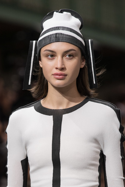 Issey Miyake at Paris Fall 2020 (Details) [white,fashion,fashion model,clothing,beauty,runway,eyebrow,lip,model,fashion show,supermodel,issey miyake,runway,model,fashion,hair,capital asset pricing model,hat,haute couture,paris fashion week,runway,hair m,supermodel,model,haute couture,fashion,hat,long hair,capital asset pricing model,hair]
